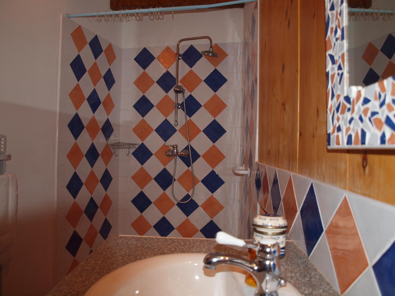 Douche de la chambre avec 1 lit